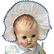 "Sweet Dotted Swiss Baby Doll Bonnet 11"" Head Size"