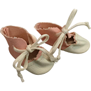 Cutest Pink and White Oilcloth Baby Doll Shoes