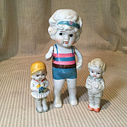 3 All Bisque Japanese Figures-1930s