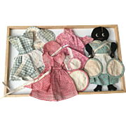 Folk Art AA Flat Doll and 4 Outfits