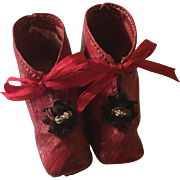 Late 19c. Red Leather French Fashion Shoes