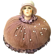 1920s Era Flapper German Head Pin Cushion with Velvet and Silk