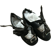 Wonderful Small German Leather Antique Doll Shoes