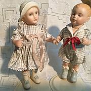 """Vintage Pair of 6"""" All Bisque Artist Dolls"""