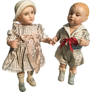 "Vintage Pair of 6"" All Bisque Artist Dolls"