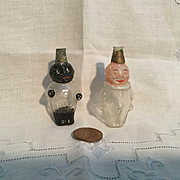 Two Blown Figural Glass Candy Containers or Perfumes
