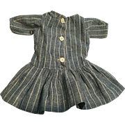 c.1900 Striped Chambray Doll Country School Dress