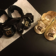 2 Pairs of Oil Cloth Replacement Doll Shoes