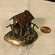 Vintage Miniature Cottage w/Enameling & Figures
