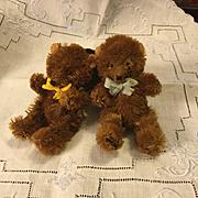 Pair c.1950s Mohair Miniature Jointed Bears-German
