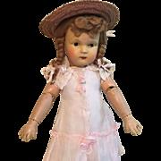 "17"" Early Schoenhut Sweet Girl, Orig. Wig"