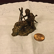Tiny Bronze Mother and Child Sculpture