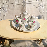 Vintage Doll House Rose Teaset and Tray