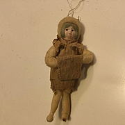 Spun Cotton Girl with Her Muff Ornament