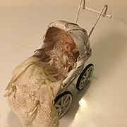 """Cathy Hansen Wee 2"""" Baby Doll and Wicker Carriage"""