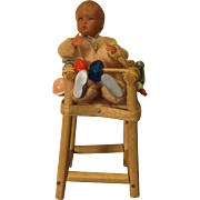 Vintage Caco Baby Doll in High Chair, Tagged w/Accessories