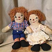 Rare Set Of Awake/Sleeping Raggedy Anne & Andy