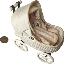 Dear Miniature Celluloid Carriage and Dressed Baby
