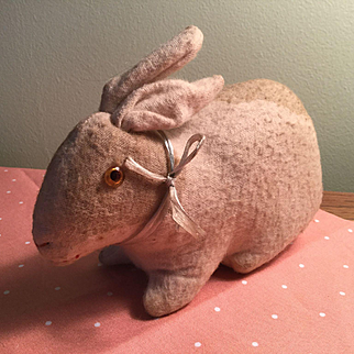 Flannel Sitting Bunny, Glass Eyes