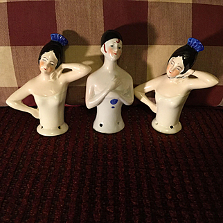3 German Deco Era 1/2 Dolls
