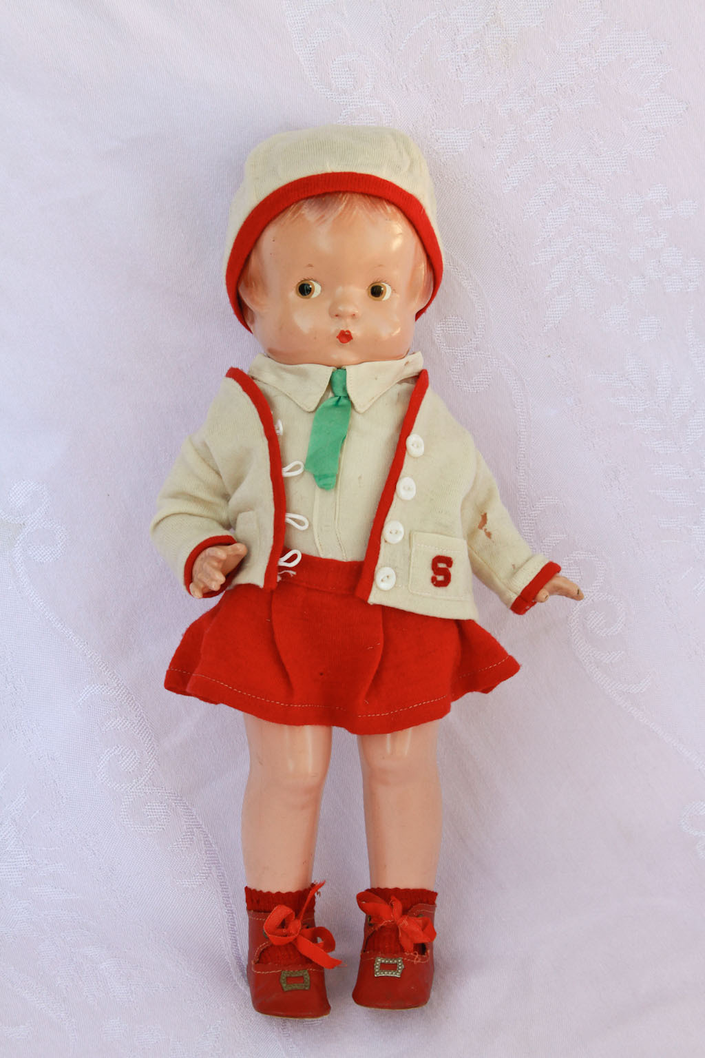 "14"" 1930's Effanbee Patsy Composition Doll  Almost No Crazing in Glad Togs Outfit"