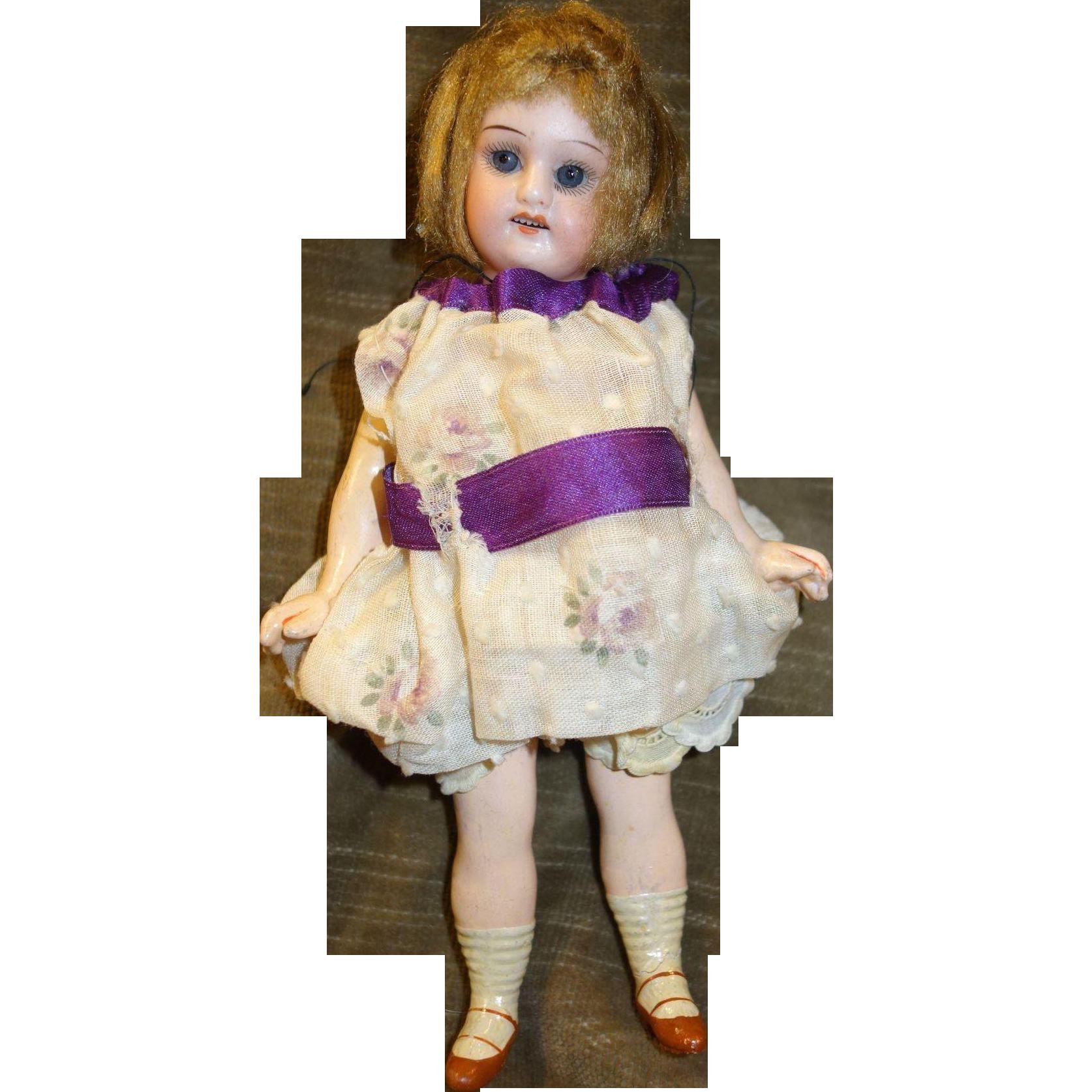"""7"""" Antique Bisque Doll Sleep Eyes"""