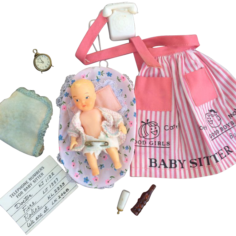 1960 S Barbie Babysits Outfit With Accessories From