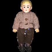 Antique bisque boy doll cabinet size