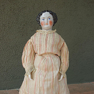 No cheek rubs! Antique China Head Doll with Antique Clothing 18""