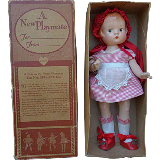 Effanbee 1930's Composition Patsyette Red Riding Hood Doll Mint with Box NO Crazing