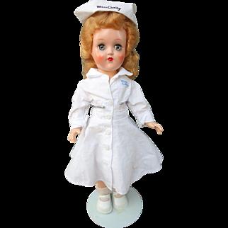 "Ideal Hard Plastic Miss Curity Nurse Doll P-90 Original Clothes 14"" 1950's"