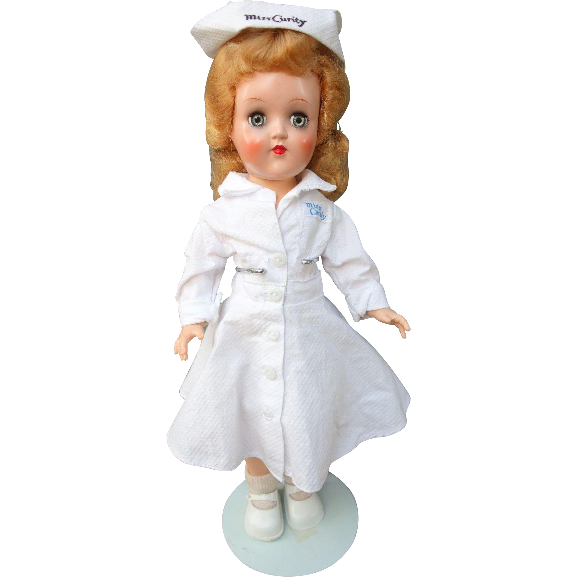 "Ideal Hard Plastic Miss Curity Nurse Doll P-90 Original Clothes 14"" 1950's"