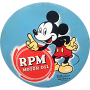 1939 Standard Oil Mickey Mouse Walt Disney Gasoline advertising sign almost 2 Feet Wide