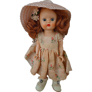 Beautiful Strung Redhead Muffie Doll All Original 1950's Center Snap Shoes