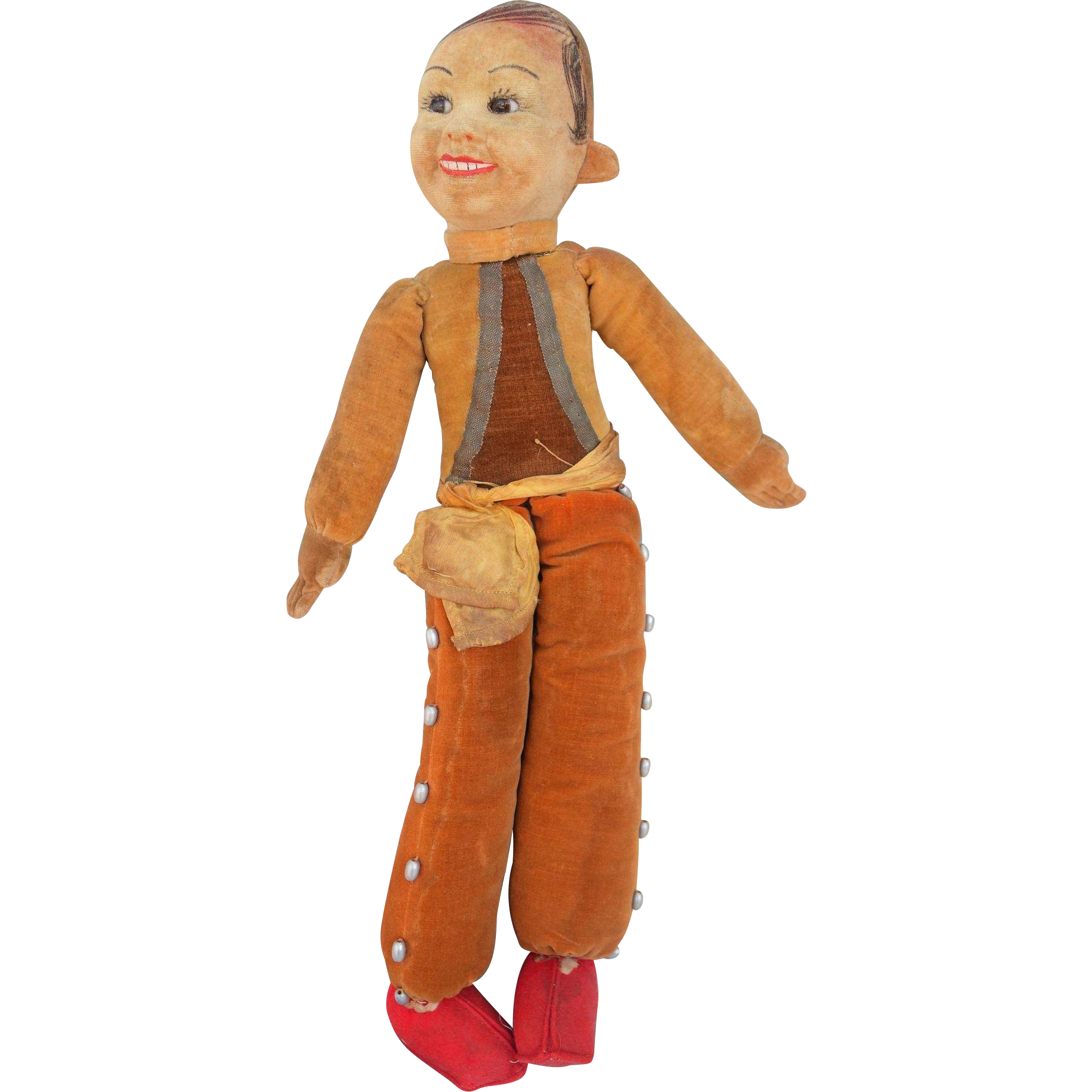 Norah Wellings Mexican Bullfighter  Cloth Doll Tagged Glass Eyes 15""