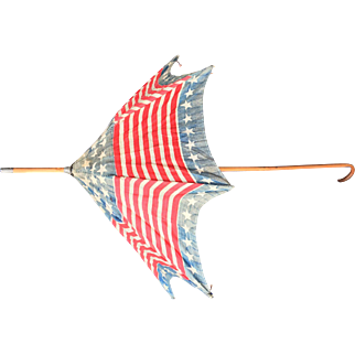 Flag print Antique Doll Parasol patriotic