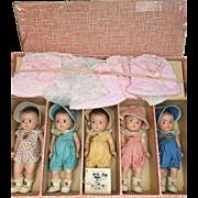 Set of 5 Dionne Quintuplets Madame Alexander 1930's
