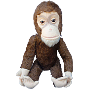 "Shuco German Mohair Monkey Yes/No Works! 10"" Excellent!"