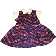 "Terri Lee Tagged 16"" Doll Train Print Dress 1950's"