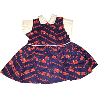 """Terri Lee Tagged 16"""" Doll Train Print Dress 1950's"""
