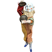 Antique Bisque Mechanical Clown Doll with Cymbals