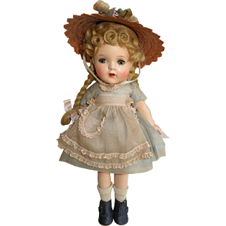 """Adorable 12"""" Madame Alexander McGuffey Ana in Pink and Blue All Original Composition Doll"""