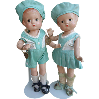 Effanbee Patsyette Twins Composition 1930's All Original with Bracelets Near Mint! Patsy Family