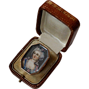 Beautiful Antique 18 Th Century French Solid 18 K Gold & Rock Crystal hand painted Portrait  Boite a Mouche / Patch Box