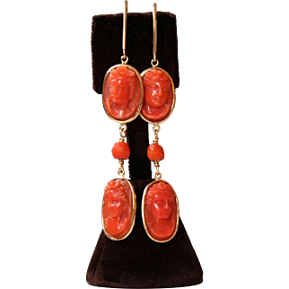 Stunning Long Dangling Antique Carved Natural Red Coral Cameo Earrings set in 14 K gold new mounting