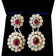 Fabulous Antique Georgian or Early Victorian Foiled Back Ruby`s Paste and Natural Seed Pearl 14 k Gold Dangling Earrings