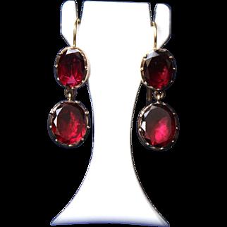 Magnificent Antique Georgian Circa 1800-1810 Dangling Foiled back flat cut faceted Red Garnet  14 K Gold Earrings