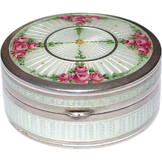 Beautiful Antique Art-Nouveau circa 1900, Signed Germany Sterling Silver & white Guilloche Enamel with fancy Roses Decor Pill or Snuff Box