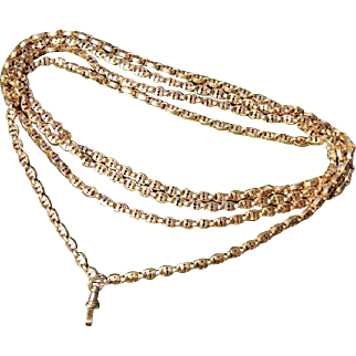 Exceptional Antique Victorian Long 57 Inches Heavy 46.1 Grams 10 Ct Yellow Gold Hallmarked ornate Guard Chain Necklace