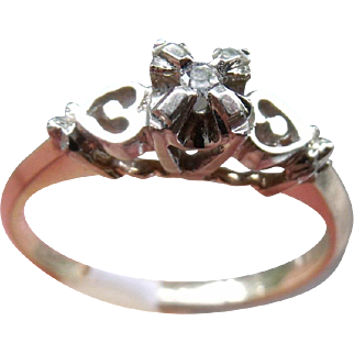 Lovely Vintage Circa 1920-30's , Signed Courtship White & Yellow 14 k Solid Gold and Old Mine Cut solitaire Diamond Ring.